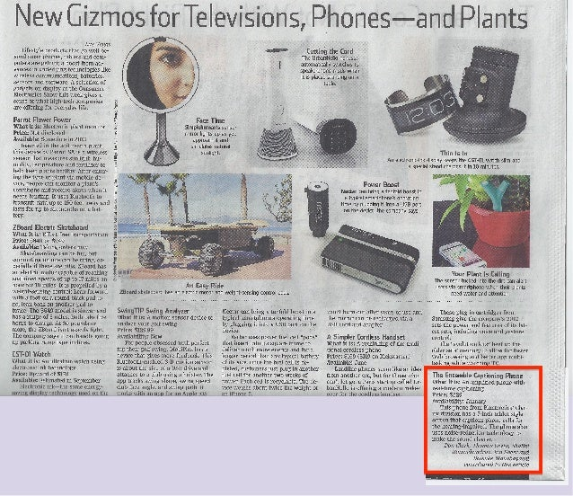 WSJ Print edition - New Gizmos for Televisions, Phones—and Plants