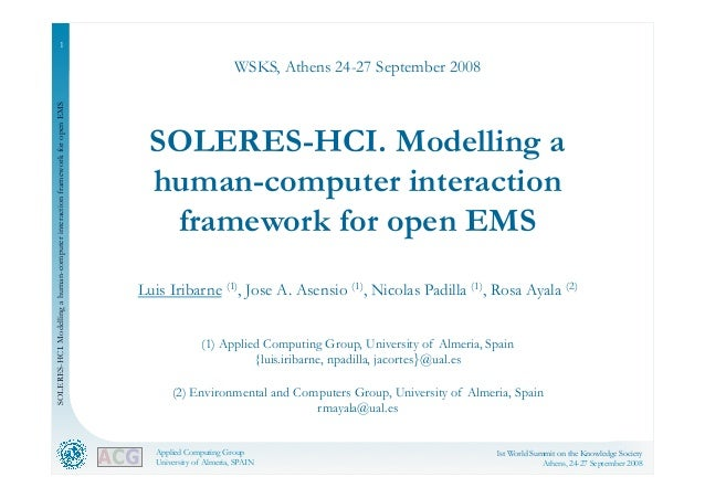 SOLERES-HCI. Modelling a human-computer interaction framework for open EMS