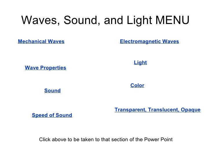 Waves, Sound, and Light MENU Mechanical Waves Wave Properties Electromagnetic Waves Sound Speed of Sound Light Transparent...