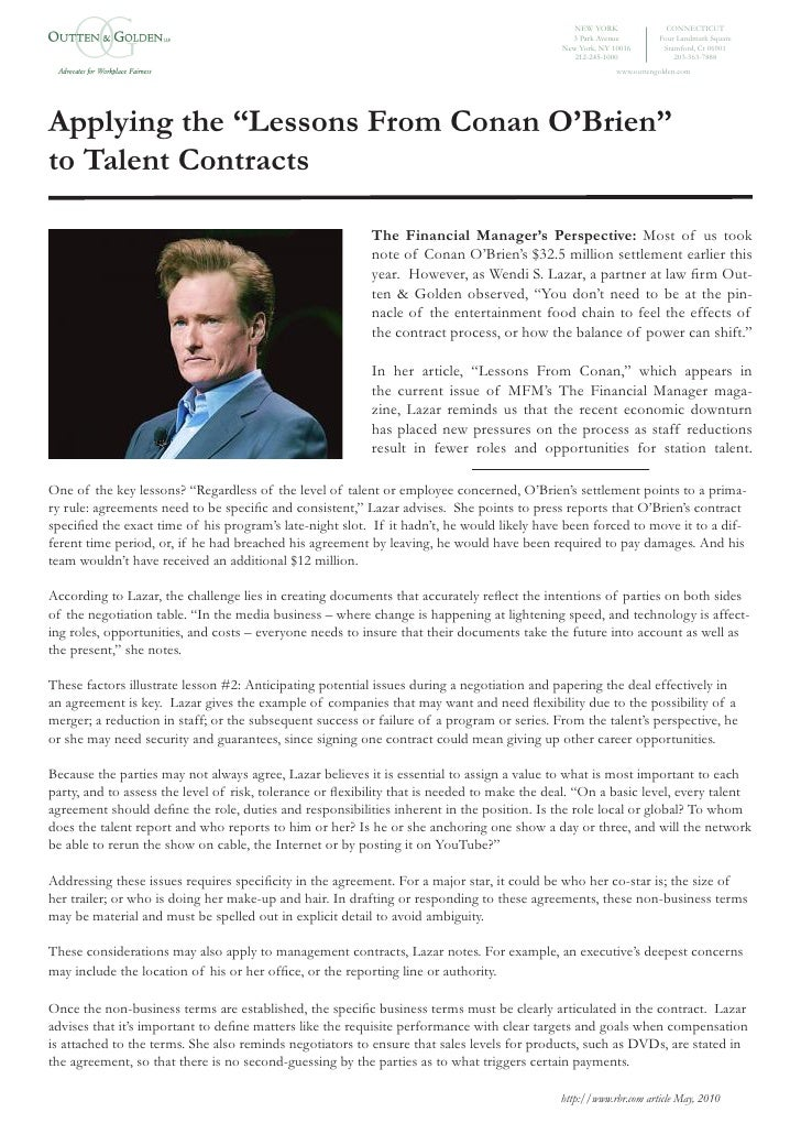 Applying The Lessons From Conan O'Brien To Talent Contracts