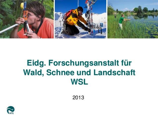 Eidg. Forschungsanstalt fürWald, Schnee und LandschaftWSL2013