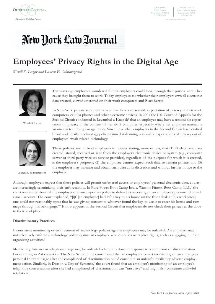Employees' Privacy Rights In The Digital Age