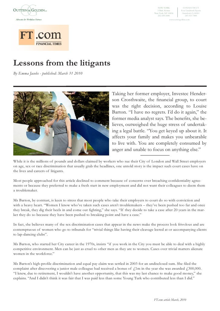 Lessons from the litigants