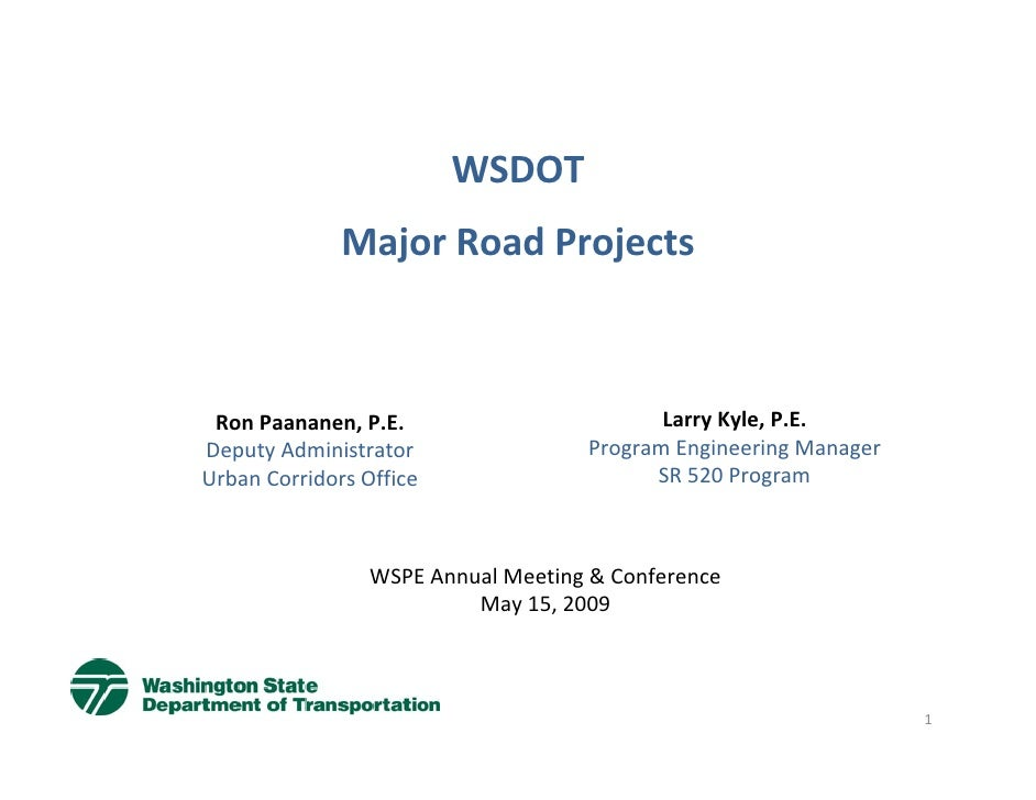 WSPE Seminar 1 May 15, 2009 WADOT