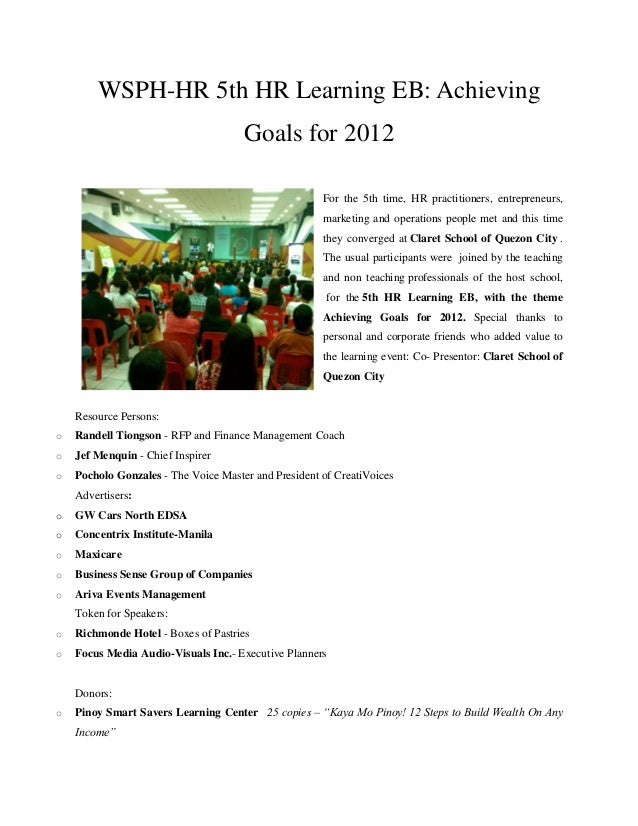 WSPH-HR 5th HR Learning EB: Achieving                                      Goals for 2012                                 ...
