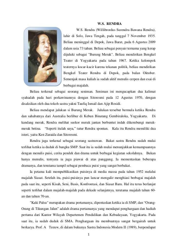 W.S.  RENDRA<br />W.S. Rendra (Willibrordus Surendra Bawana Rendra), lahir di Solo, Jawa Tengah, pada tanggal 7 November 1...