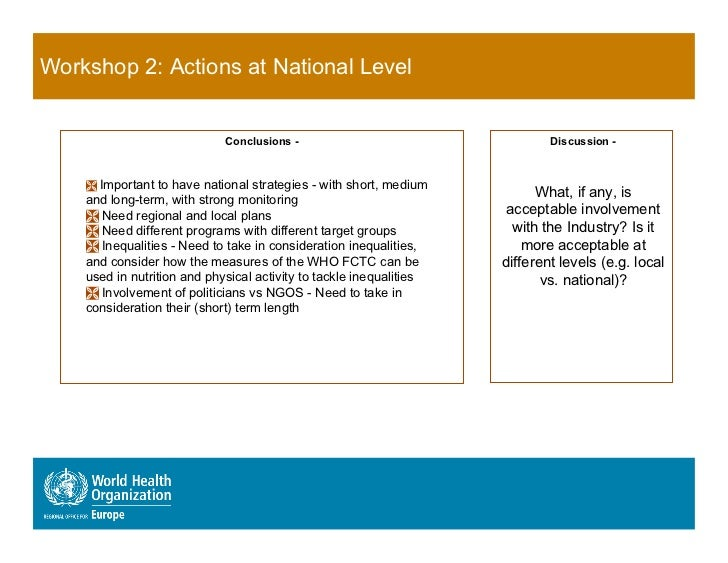 Workshop 2: Actions at National Level                              Conclusions -                                  Discussi...
