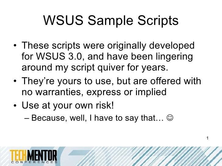 Wsus sample scripts