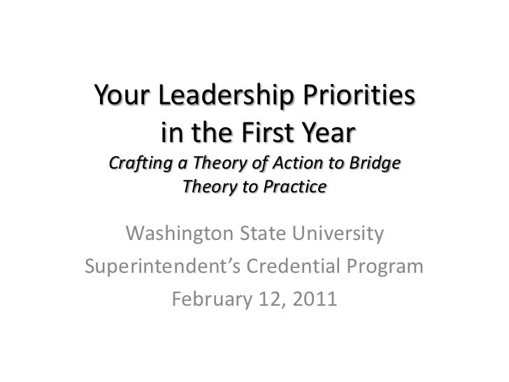 Your Leadership Prioritiesin the First YearCrafting a Theory of Action to BridgeTheory to Practice<br />Washington State U...