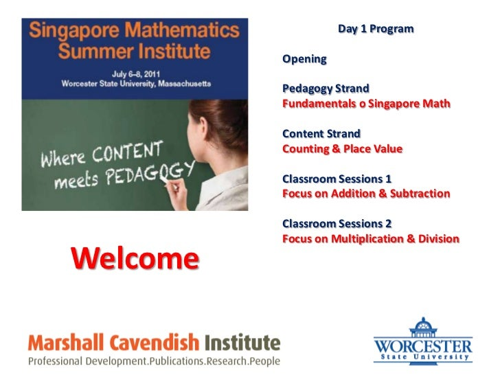 Day 1 Program<br />Opening<br />Pedagogy Strand<br />Fundamentals o Singapore Math<br />Content Strand<br />Counting & Pla...