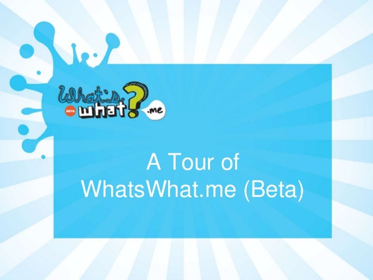 A Tour ofWhatsWhat.me (Beta)                      1