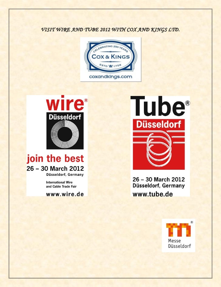 Visit Wire & Tube 2012 with Cox & Kings Ltd