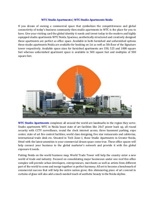 WTC Studio Apartments | WTC Studio Apartments Noida If you dream of owning a commercial space that symbolizes the competit...