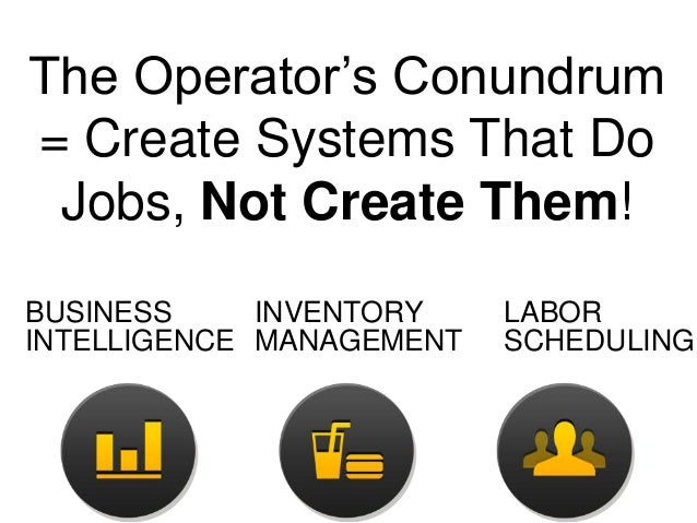 The Operator's Conundrum = Create Systems That Do Jobs, Not Create Them! BUSINESS INVENTORY INTELLIGENCE MANAGEMENT  LABOR...