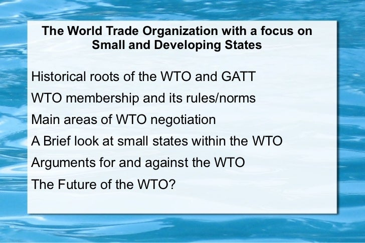 Wto and implications for small and developing countries