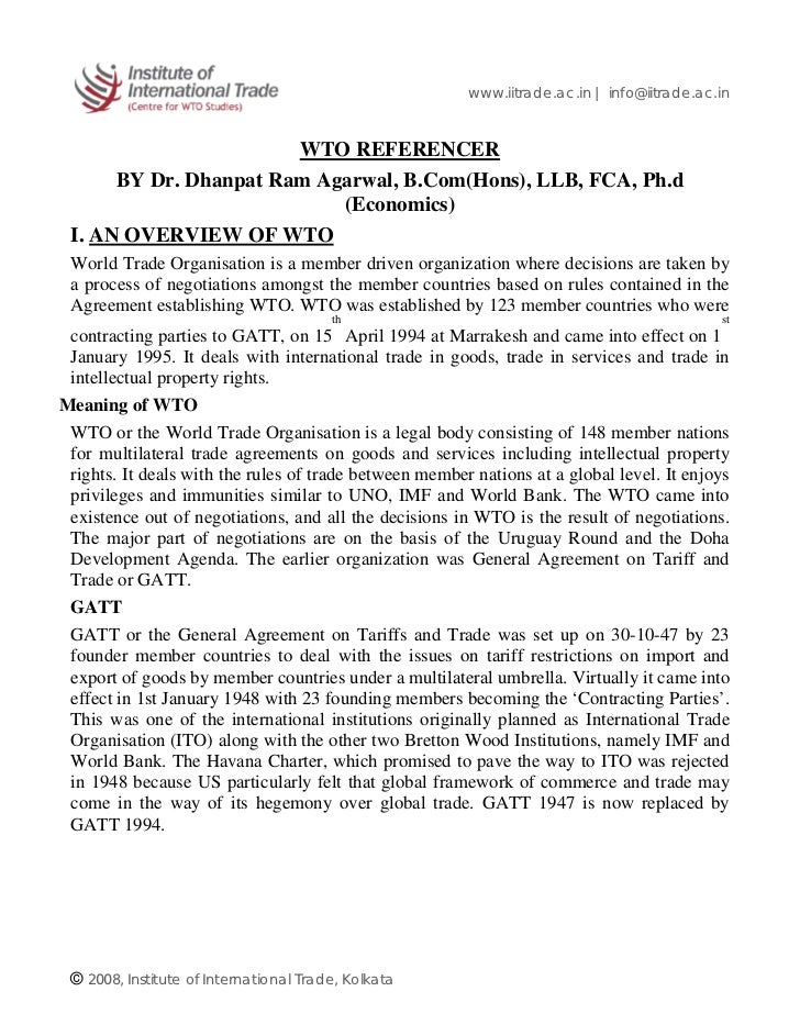 www.iitrade.ac.in | info@iitrade.ac.in                       WTO REFERENCER      BY Dr. Dhanpat Ram Agarwal, B.Com(Hons), ...