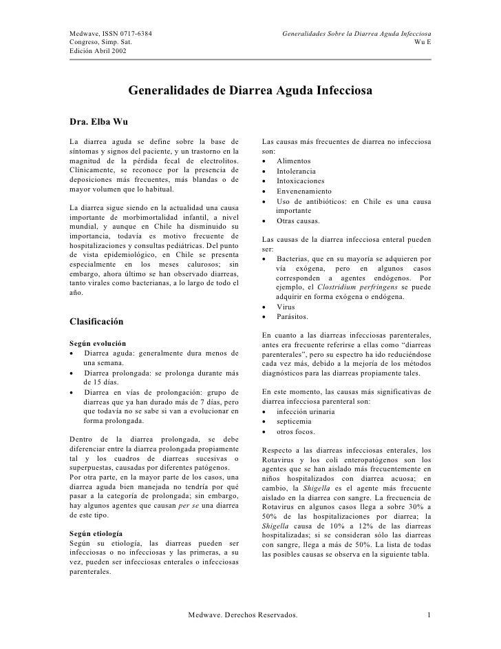 Medwave, ISSN 0717-6384                                       Generalidades Sobre la Diarrea Aguda Infecciosa Congreso, Si...