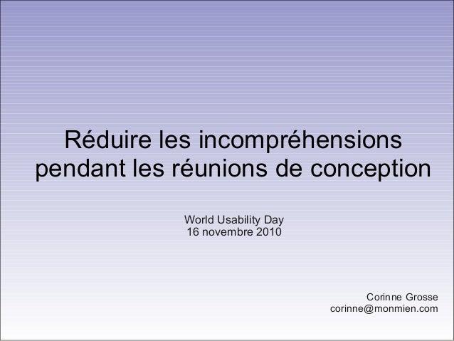 Réduire les incompréhensions pendant les réunions de conception Corinne Grosse corinne@monmien.com World Usability Day 16 ...