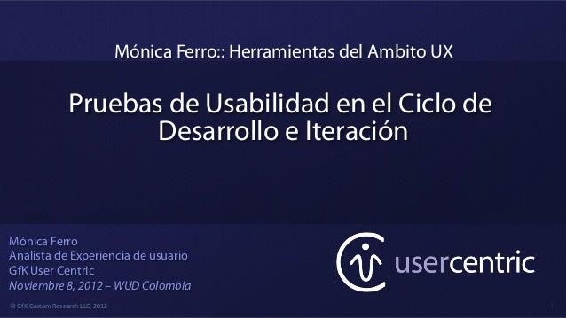 Mónica Ferro:: Herramientas del Ambito UX                             Pruebas de Usabilidad en el Ciclo de                ...