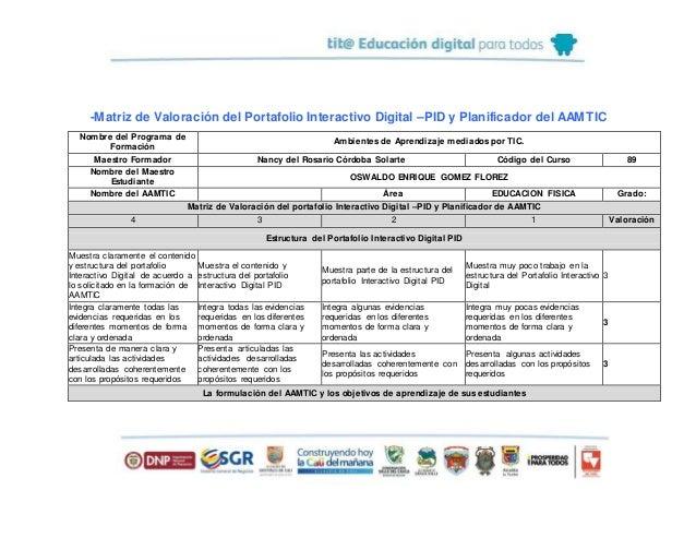 -Matriz de Valoración del Portafolio Interactivo Digital –PID y Planificador del AAMTIC Nombre del Programa de Formación A...