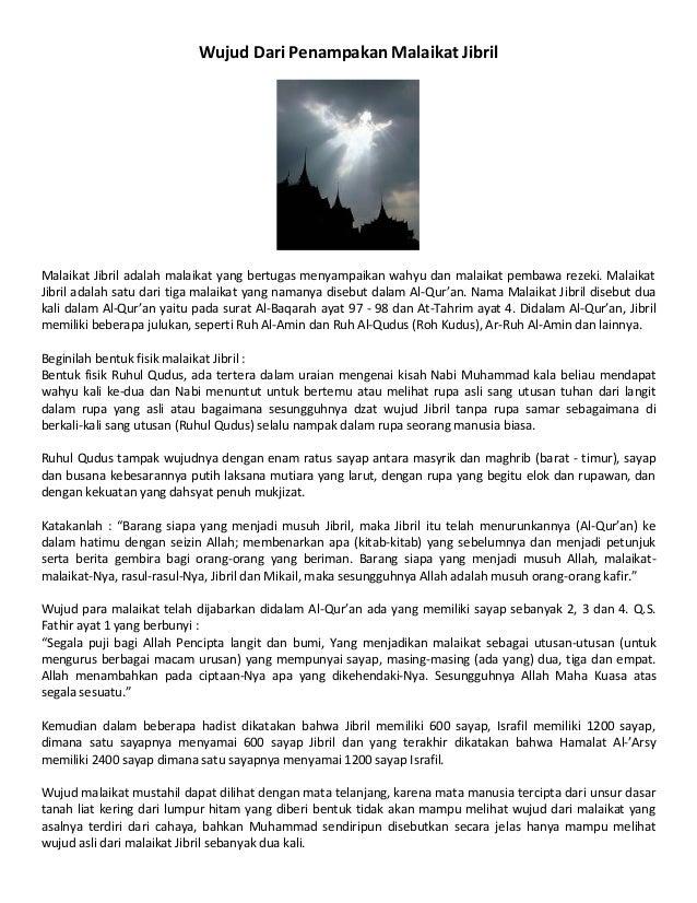 Wujud Dari Penampakan Malaikat Jibril