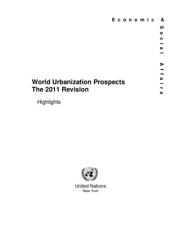 World Urbanization Prospects 2011 highlights