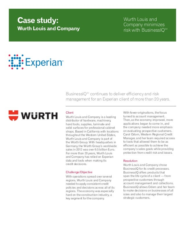 BusinessIQSM continues to deliver efficiency and risk management for an Experian client of more than 20 years. Client Wurt...