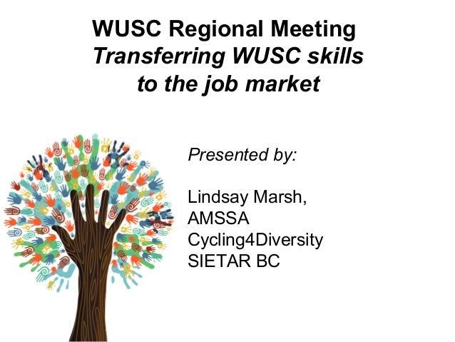 WUSC Regional Meeting Transferring WUSC skills to the job market Presented by: Lindsay Marsh, AMSSA Cycling4Diversity SIET...