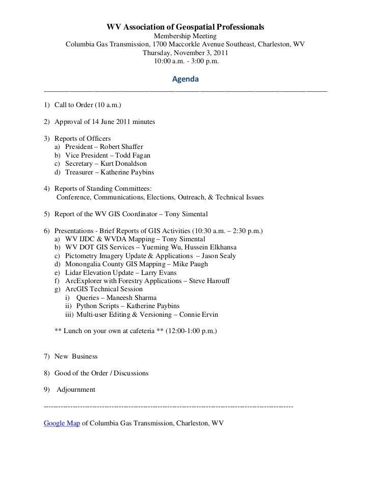 WV Association of Geospatial Professionals                                    Membership Meeting         Columbia Gas Tran...