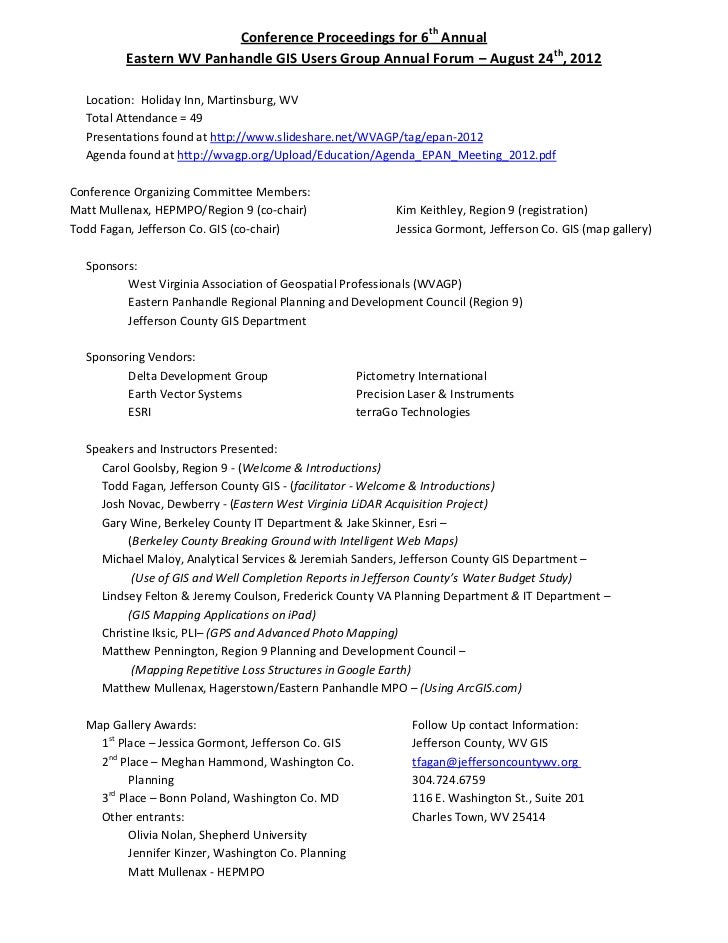 Proceedings for WV Eastern Panhandle GIS Users Group Meeting - August 2012