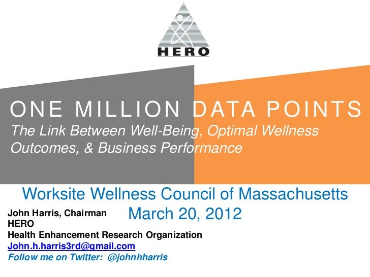 March Webinar:  One Million Data Points:  The Link Between Well-Being, Optimal Wellness Outcomes, and Business Performance