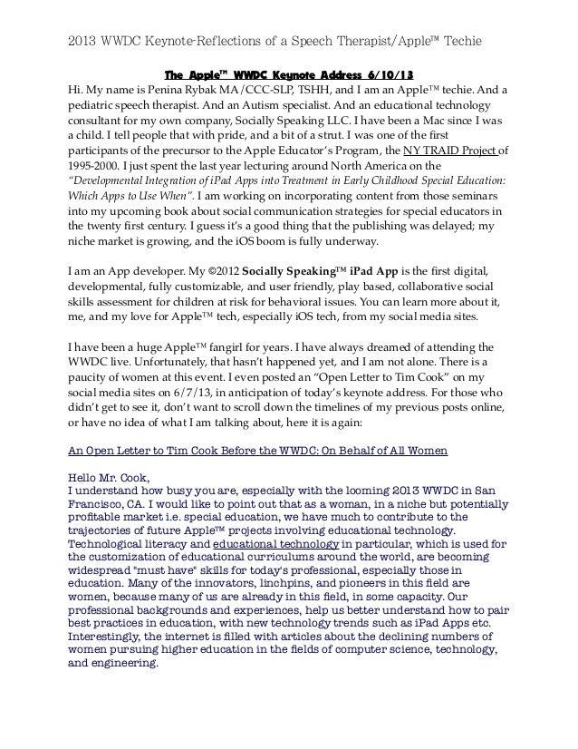 2013 WWDC Keynote-Reflections of a Speech Therapist/Apple™ Techie The Apple™ WWDC Keynote Address 6/10/13 Hi. My name is P...
