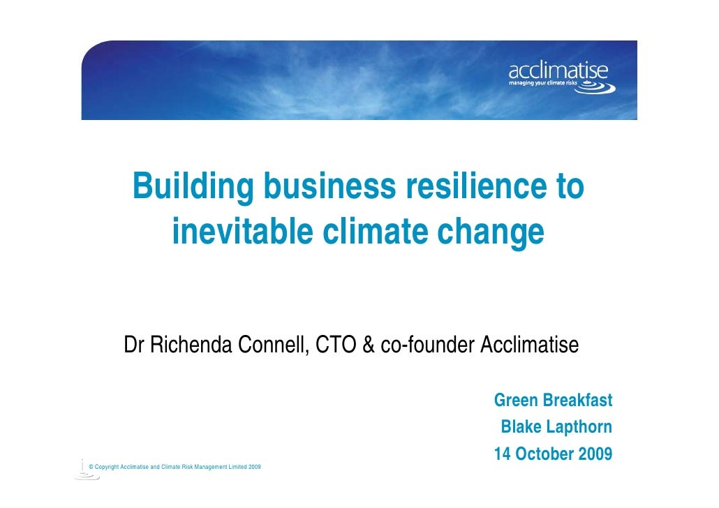 Building business resilience to inevitable climate change seminar