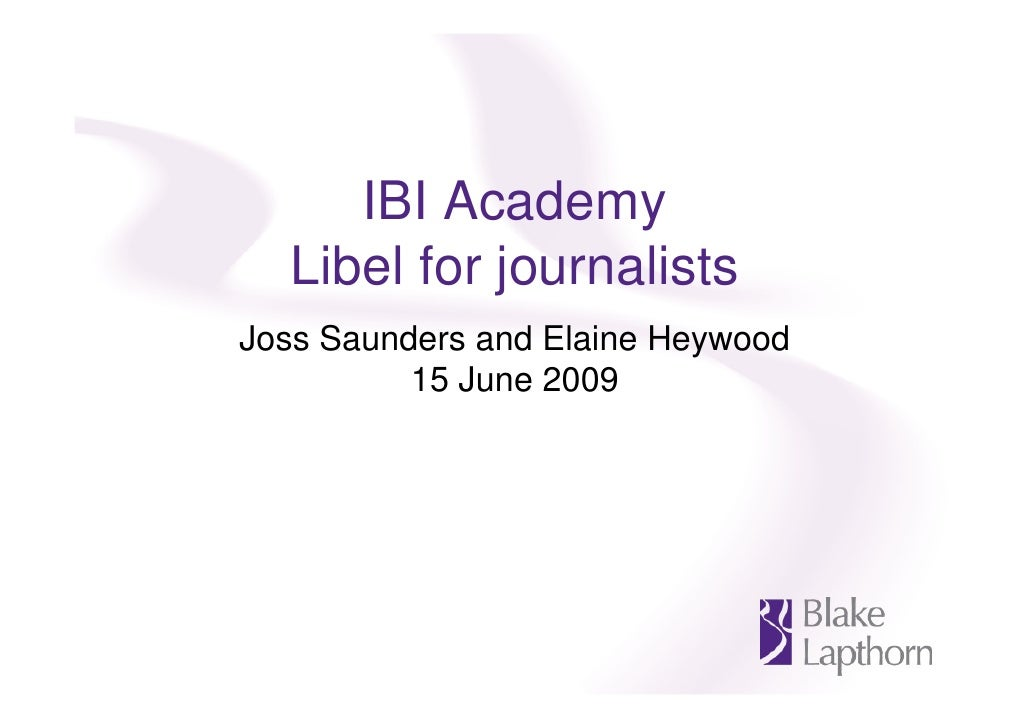 Libel for journalists seminar