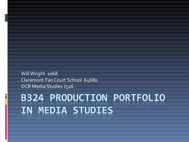 Will Wright  1068  Claremont Fan Court School  64680  OCR Media Studies J526