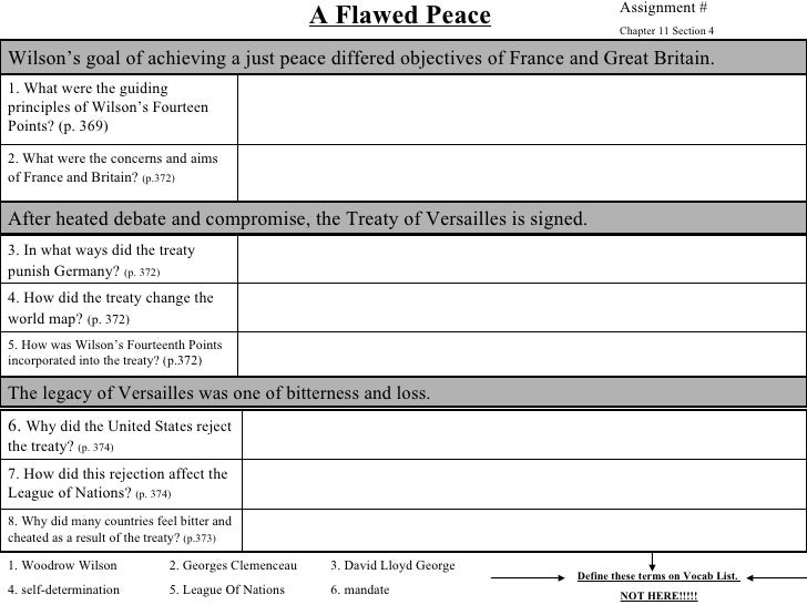 WWI 7 Flawed Peace WS Overview
