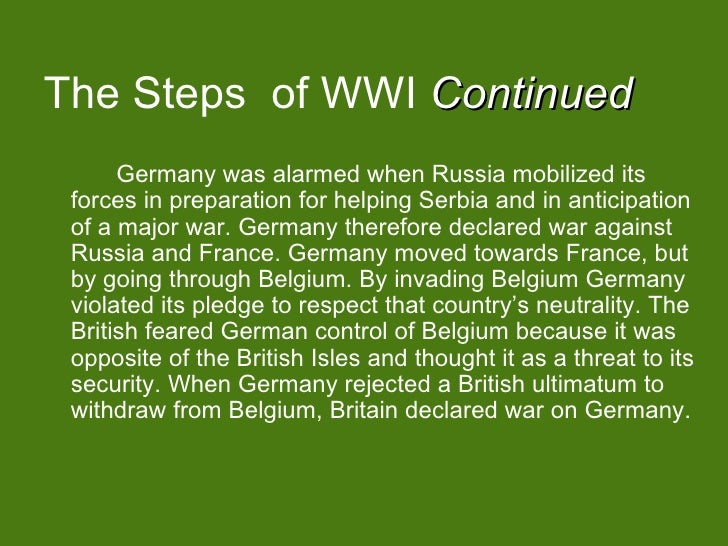 causes of world war i germany essay Free essay: wwi causes world war i, a war that started out locally in europe   problems before the war had to do with the dislike of germany against great.