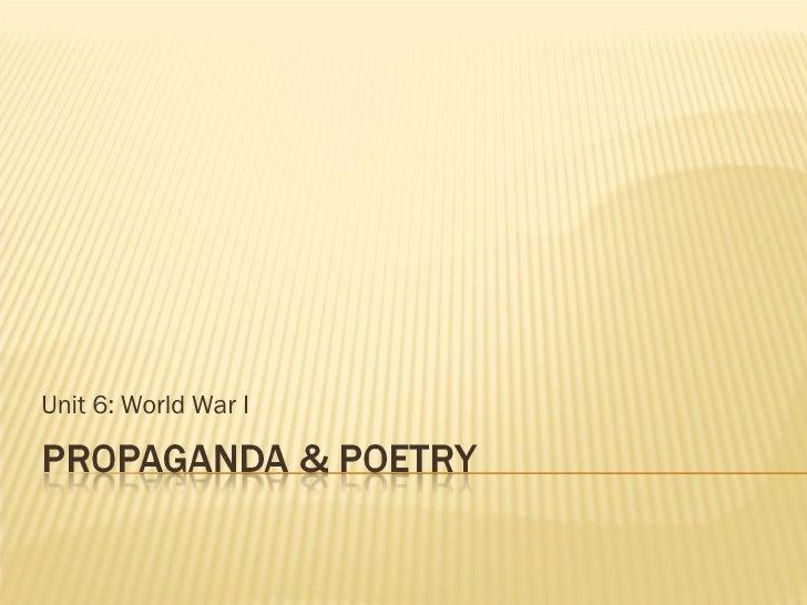 Unit 6: World War I