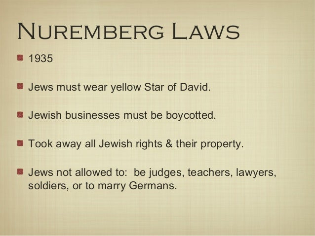 nuremberg laws against the jews The module describes the nuremberg laws, and the legal separation of jews and aryans view the full nazi germany resource, with 30 free-to-view videos.