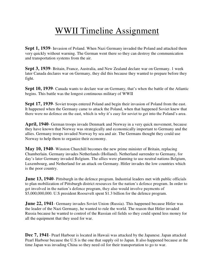 ww1 assignment World war one timeline purpose the aim of this assignment is to document and explain the events leading up to, the important aspects during, and the.
