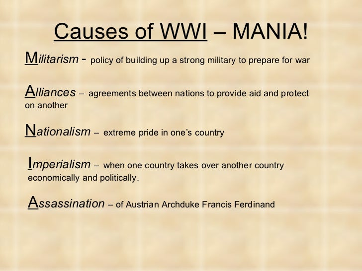4 major causes of ww1 Germany and austria are usually regarded as the main culprits however unlike world war two there is no one easily identifiable 1998 treat as the causes of world war i 1914-1918 excellent website dedicated to the first world war article from the bbc history website about the causes of.