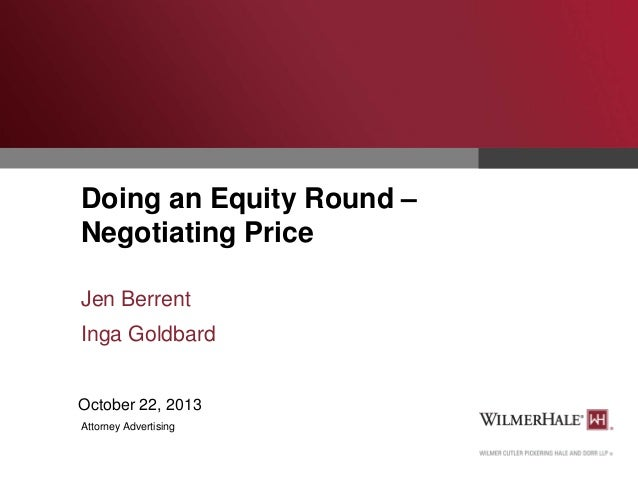 Doing an Equity Round - Negotiating Price