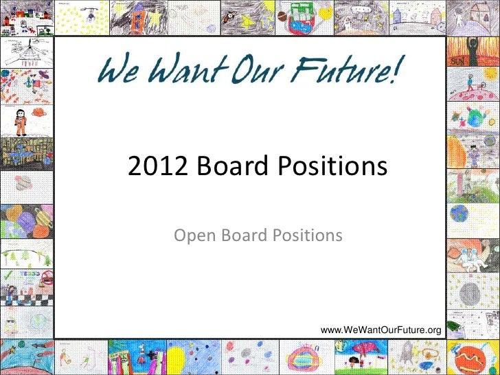 WWOF Open Positions 2012