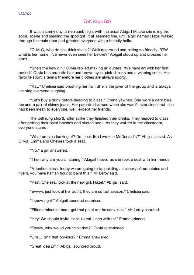 The New Girl It was a sunny day at riverbank high, with the usual Abigail Mackenzie ruling thesocial scene and stealing t...