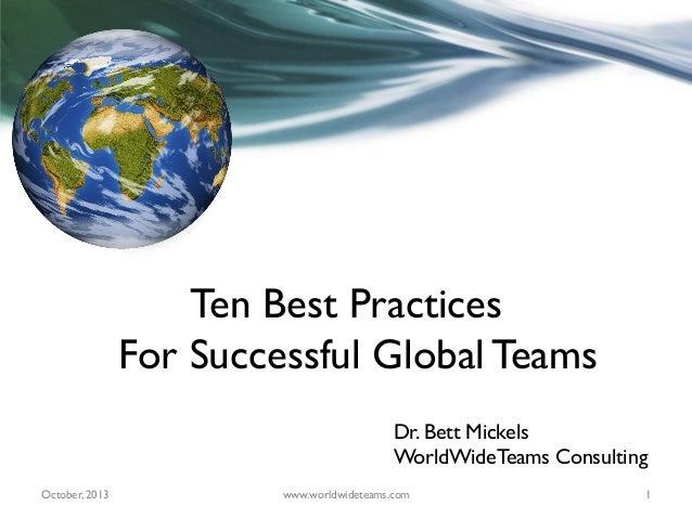 Ten Best Practices for Successful Global Teams