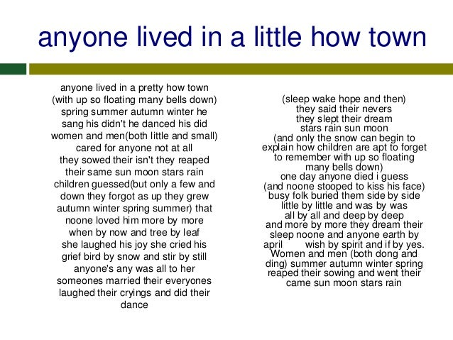 theme of anyone lived in a pretty how town The theme of anyone lived in a pretty how town is mainly identitythis is a poem written by ee cummings about residents of a townwithout a name.