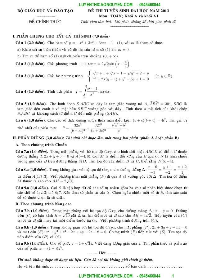 [Www.toan capba.net] các đề thi đh và đáp án từ năm 2002 đến năm 2013