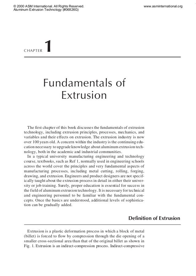 © 2000 ASM International. All Rights Reserved. Aluminum Extrusion Technology (#06826G)  CHAPTER  www.asminternational.org ...