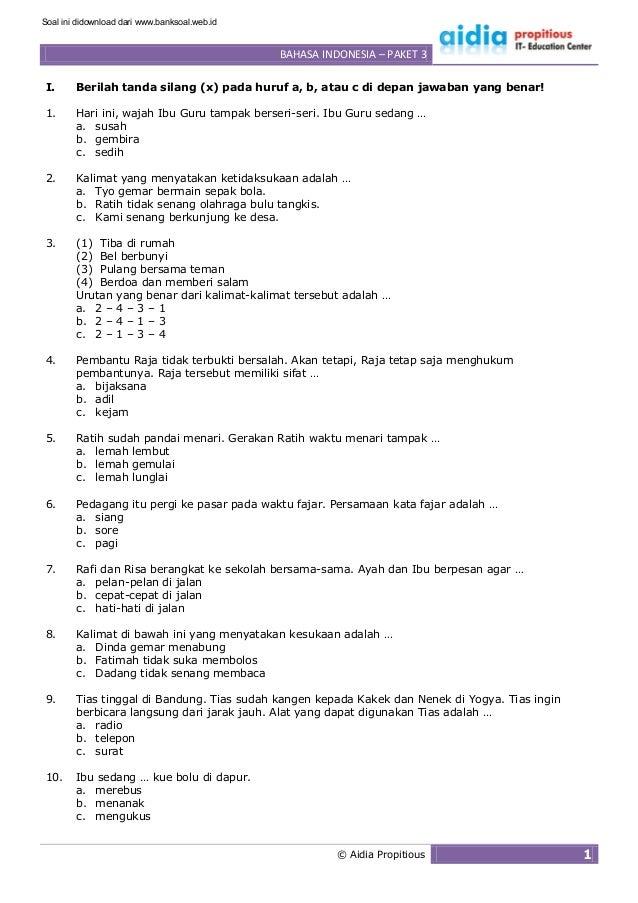 Www Banksoal Web Id Soal Latihan Bahasa Indonesia Sd