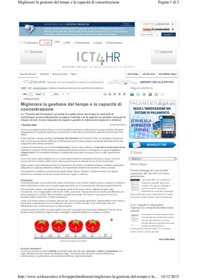 Migliorare la gestione del tempo e la capacità di concentrazione  Pagina 1 di 3  cerca nel sito  Trade  Executive  Approfo...